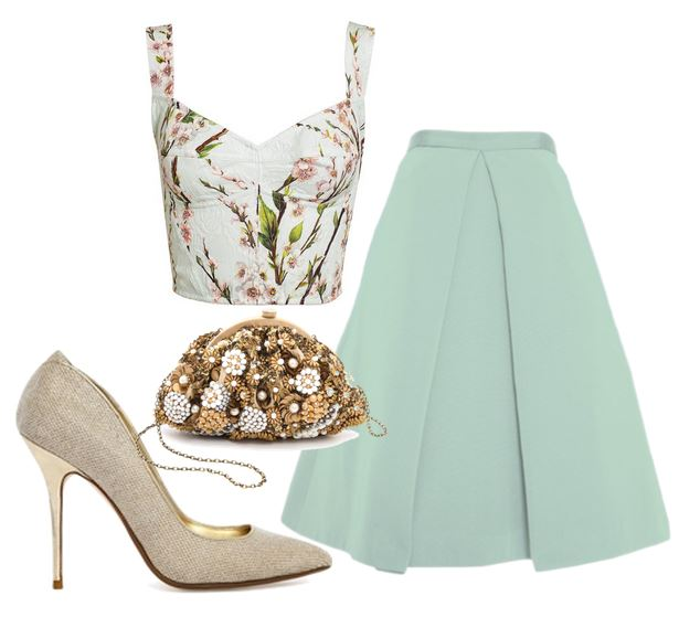 mint green skirt and gold shoes