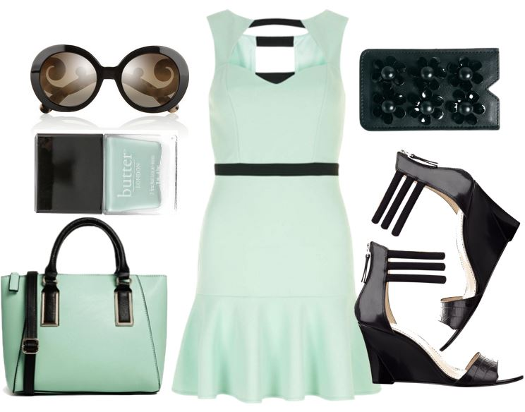 mint and black outfit