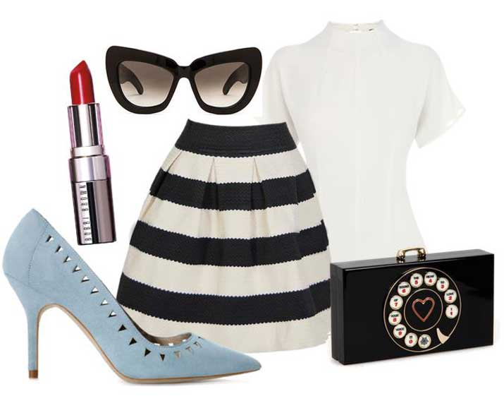 monochrome outfit with baby blue shoes