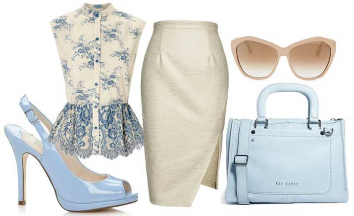 what to wear with pale blue slingbacks