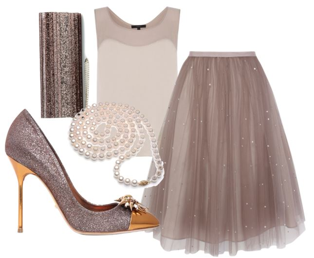 party outfit with tulle skirt and glitter shoes