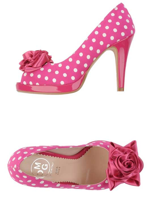 MDG pink polka dot high heels
