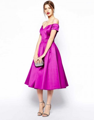 ASOS purple satin bardot dress
