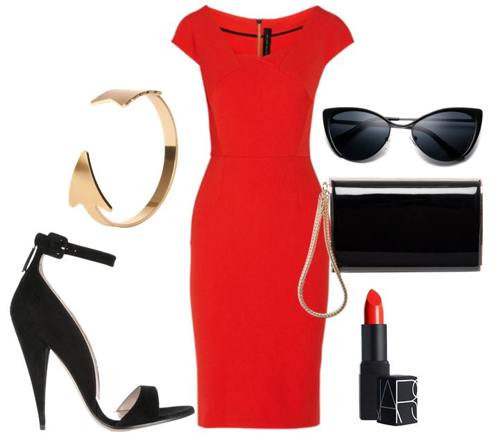 red dress and black shoes