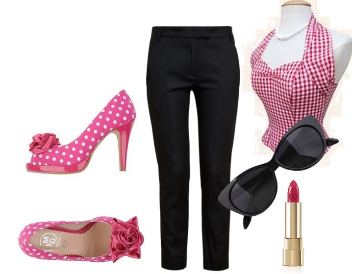 retro outfit with pink polka dot peep toes