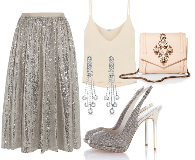 sequin skirt and silver shoes outfit
