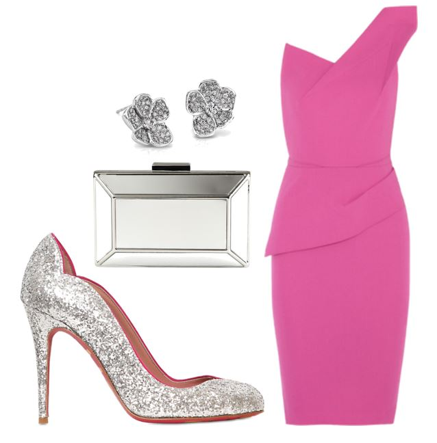 silver glitter shoes and pink dress