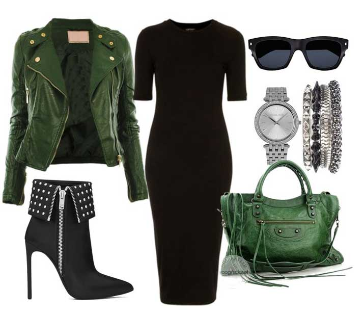 studded ankle boots with green moto jacket