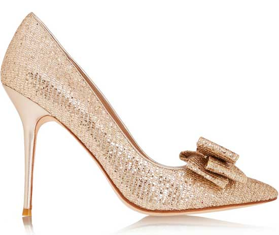 Lucy Choi London 'Rose' bow-embellished glitter-finished pumps