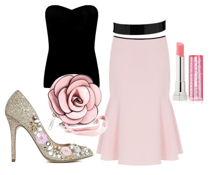 pink and black evening outfit with glitter shoes