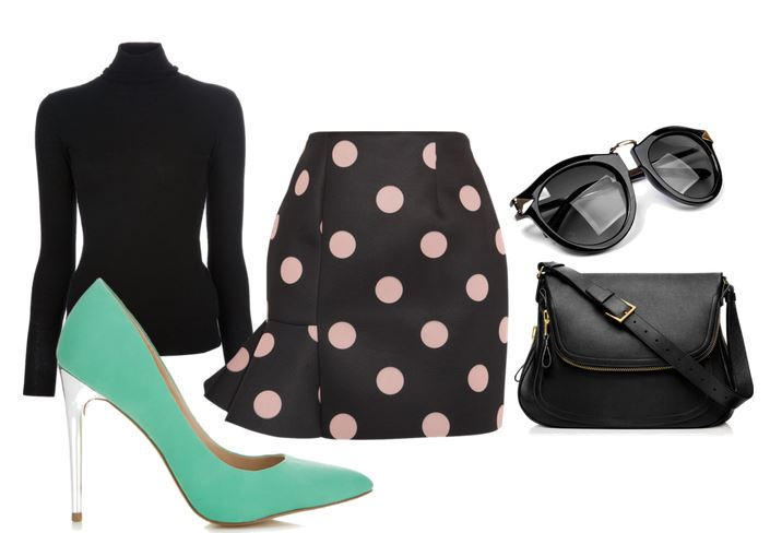 mint shoes and polka dot skirt