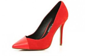 River Island red contrast toe pointed court shoes