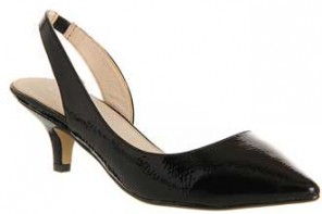Office 'Giggle'black patent kitten heels