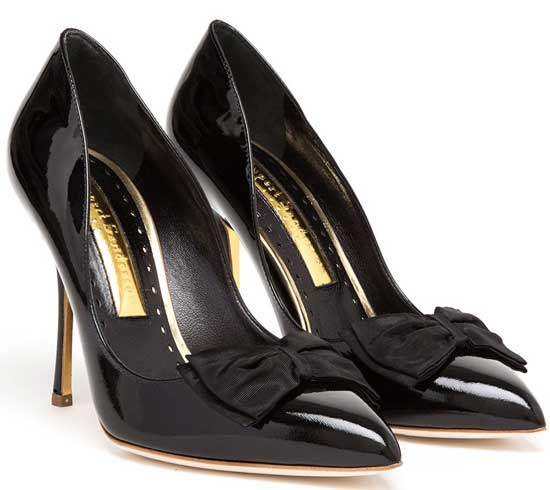 Rupert Sanderson black patent bow detail pumps