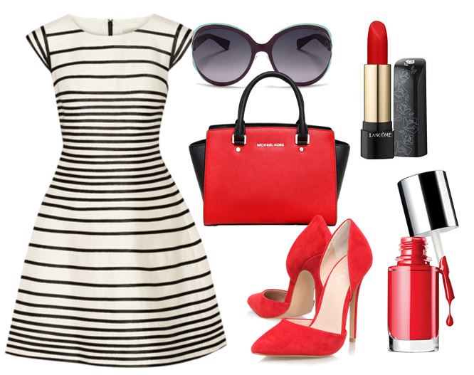 black white and red outfit