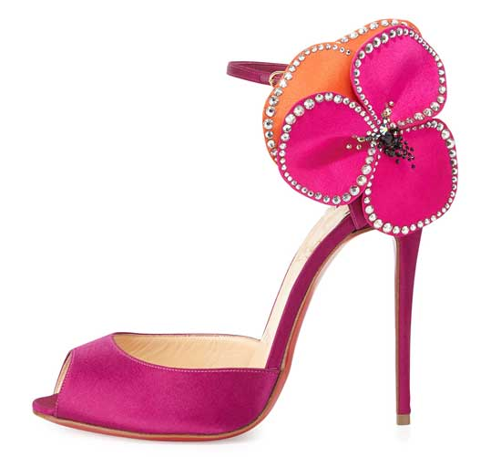 Christian Louboutin Pensamoi Satin Rose sandals