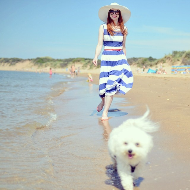 New post is on the blog now! #beach #scotland #scottishblogger #summer #dog #bichon #stripes #ootd