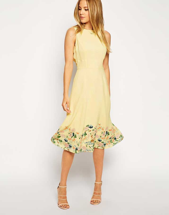 ASOS lemon midi dress