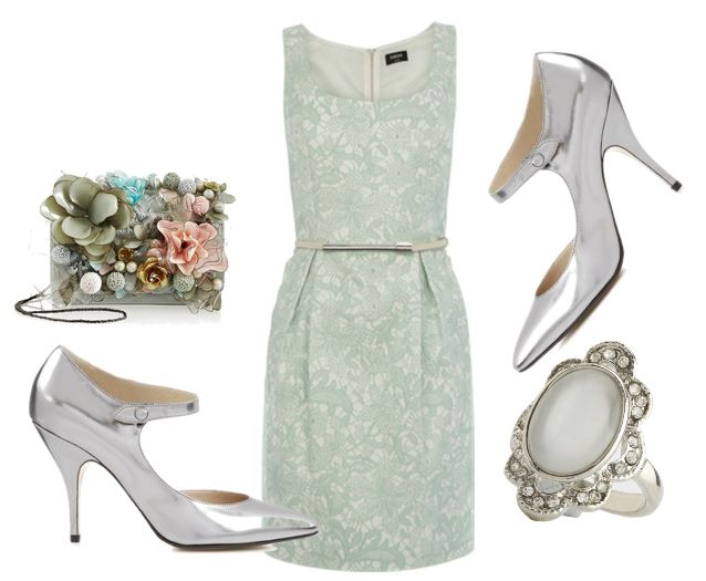 mint dress and silver shoes