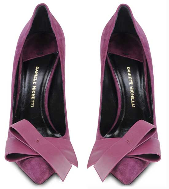 purple bow pumps by Daniele Michetti