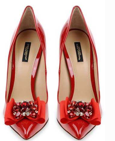 Dolce & Gabbana red patent bow pumps