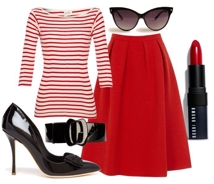 red midi skirt and black shoes