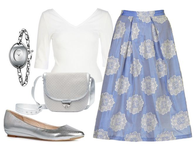 what to wear with silver wedges