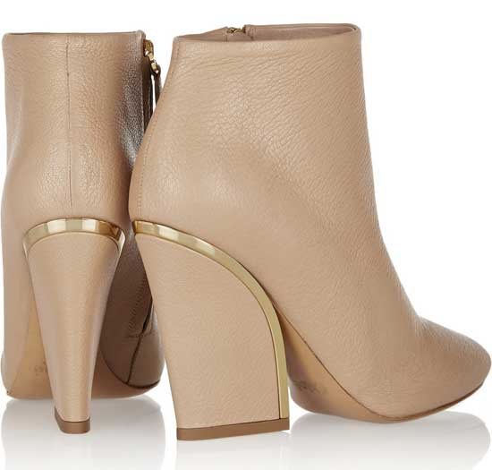 Chloe gold-trimmed nude ankle boots