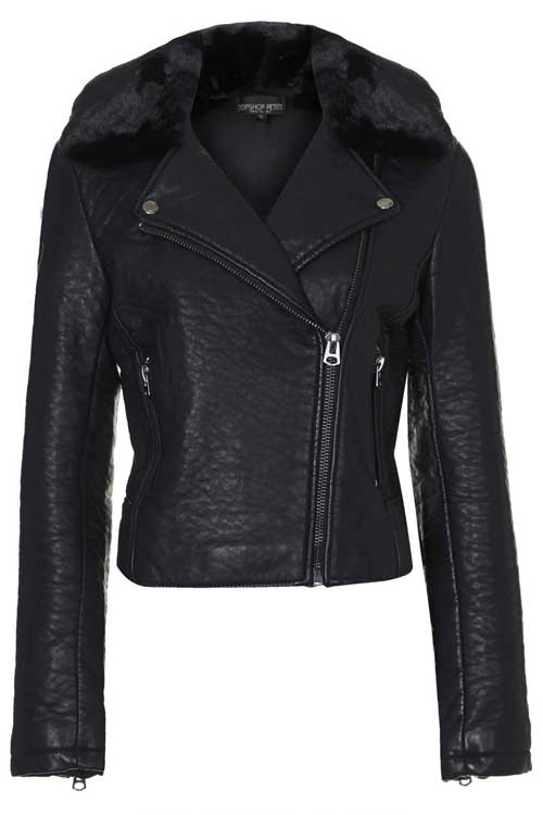 Topshop petite faux leather biker jacket