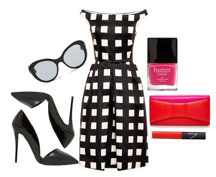 black and white dress with black pumps