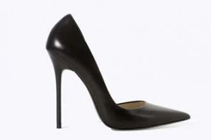 Zara black leather pointed court shoes
