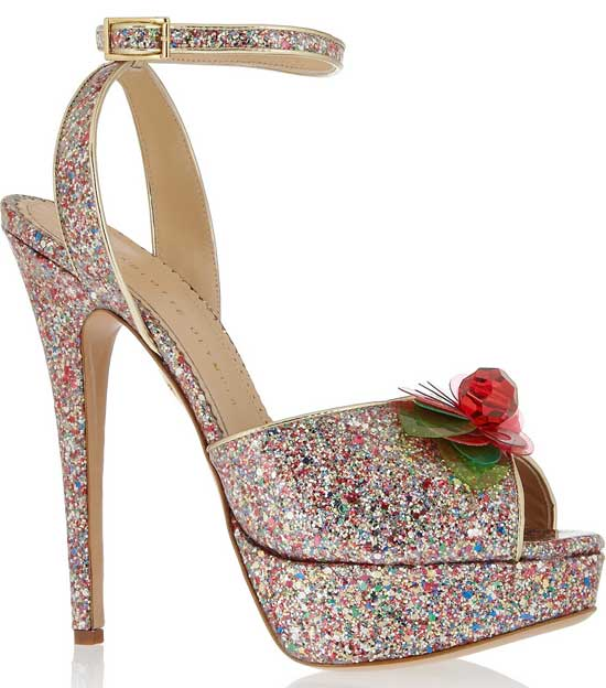 Charlotte Olympia glitter designer shoes on sale at The Outnet