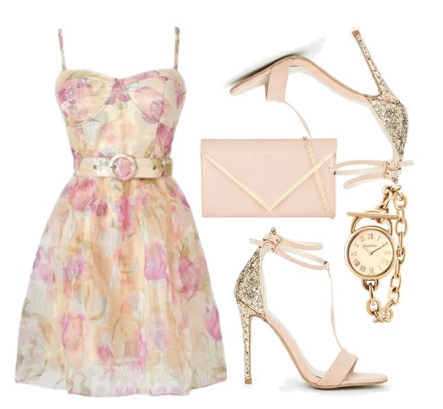 floral dress and gold glitter shoes