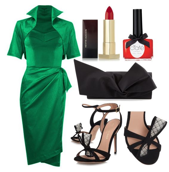 green dress with black sandals