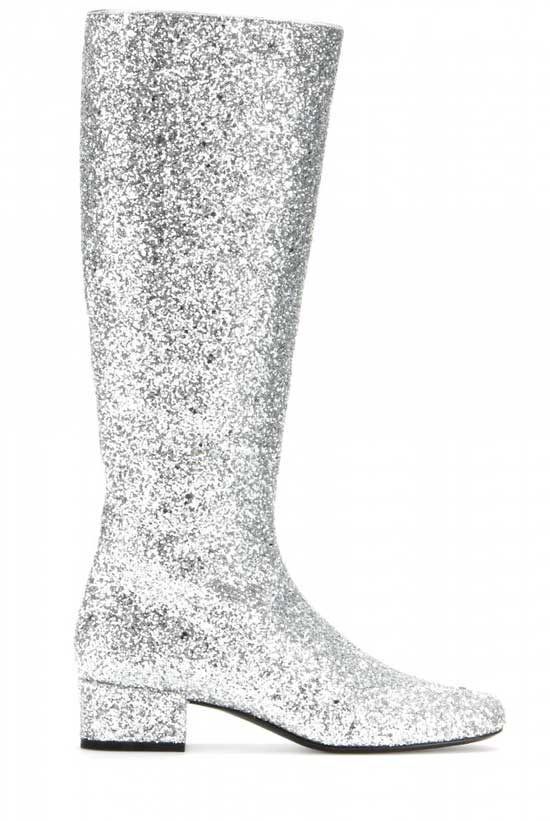 saint laurent glitter knee boots