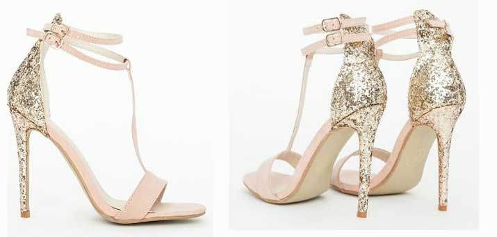 Missguided 'Pamela' nude glitter heel sandals > Shoeperwoman