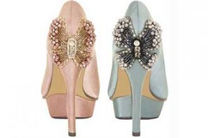 Paper Dolls butterfly heels peep toe shoes
