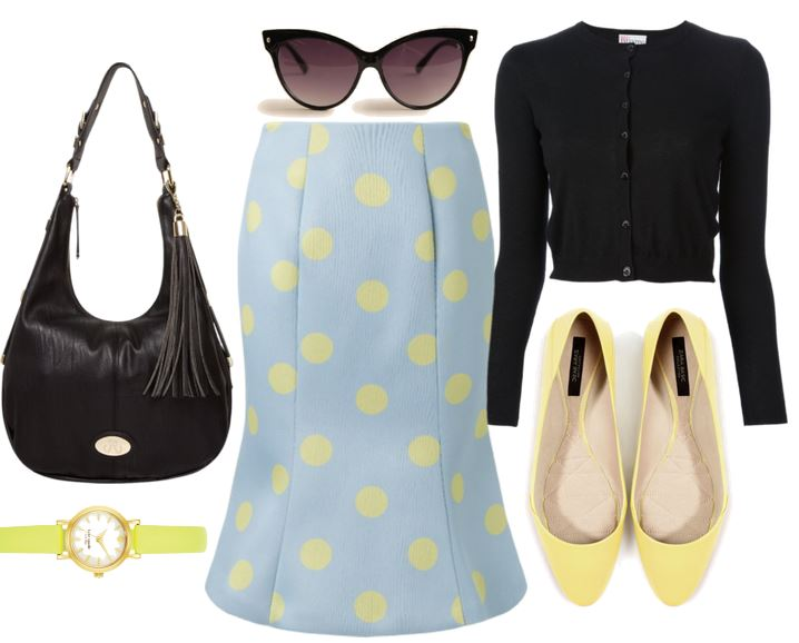 blue polka dot skirt and yellow flats