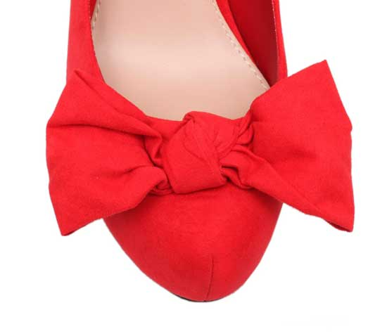 Miss KG 'Sally' red platform pumps with bows