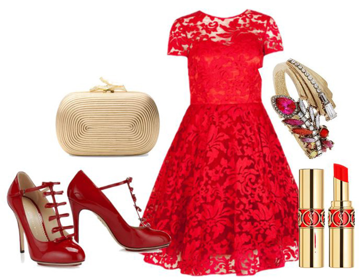 red dress with red patent shoes