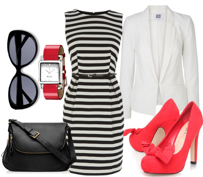 red shoes and stripe dress