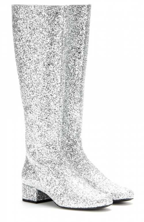 silver glitter knee boots