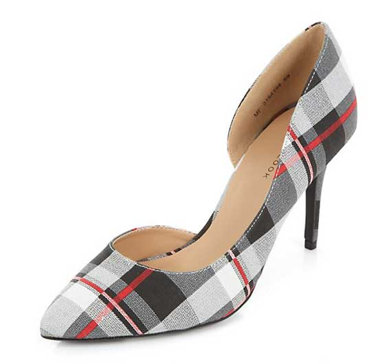 red and grey check court shoes