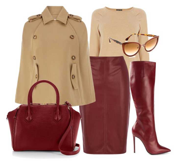 camel and burgundy autumn outfit