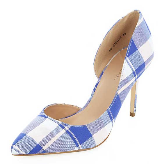 blue and white check print court shoes