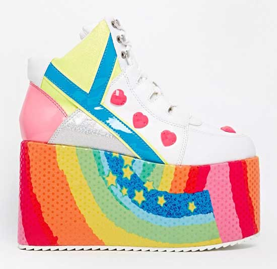 rainbow soled flatform sneakers