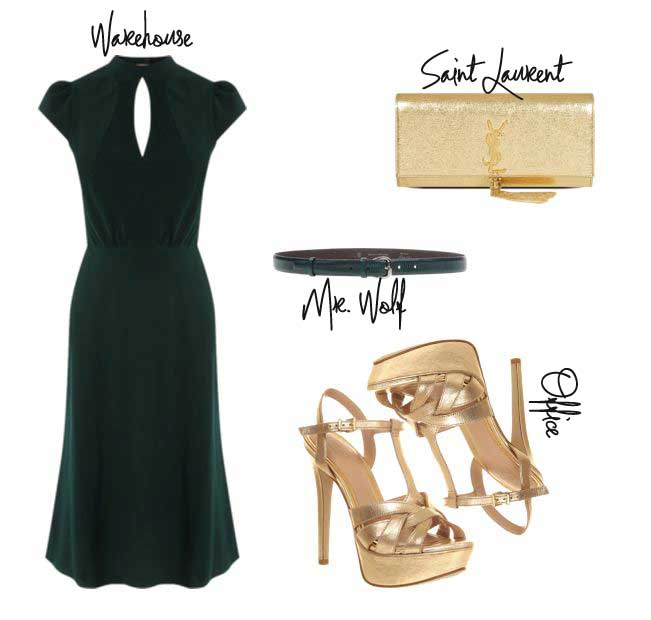 green dress and gold sandals