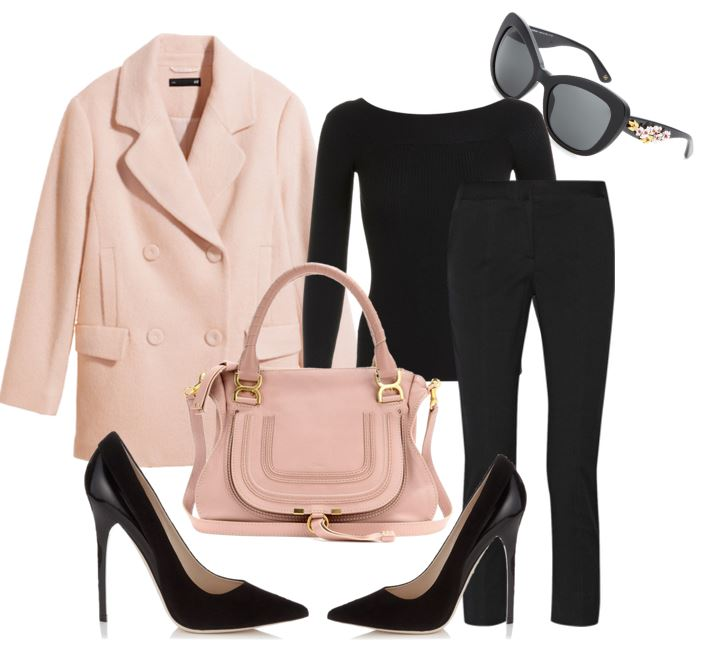 OOTD featuring pink coat and black trousers