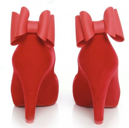 Melissa Incense red flock bow heels