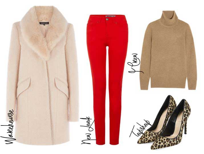 outfit featuring red jeans and lepard print shoes